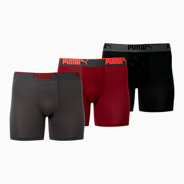 Men's Performance Training Boxer Briefs [3 Pack], BURGUNDY / BLACK, small